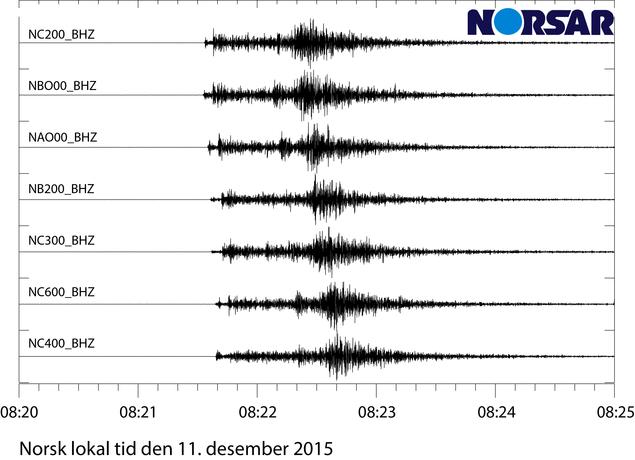 Seismiske bølgeformer fra forskjellige seismometre i NORSAR-arrayen i Hedmark.