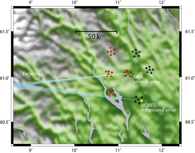 Kart over registreringer av meteor