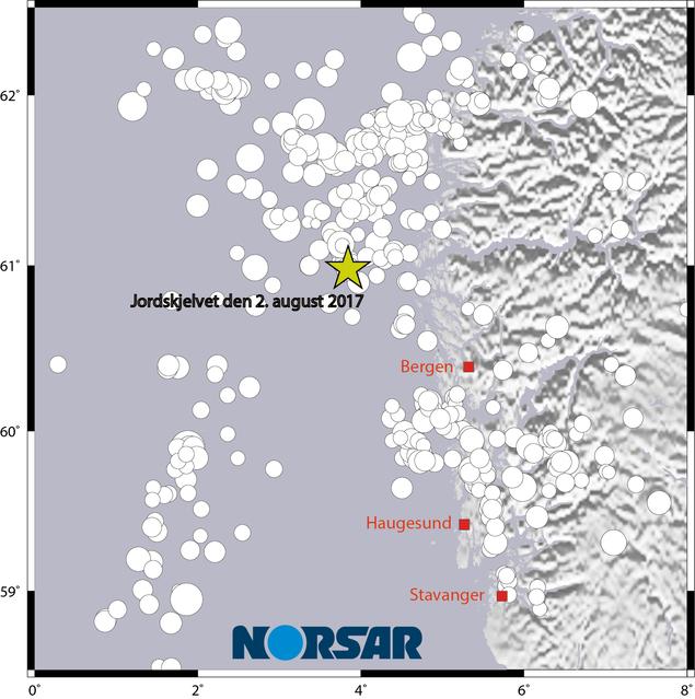 Skjelvet den 2. august 2017 med historisk seismisitet i området