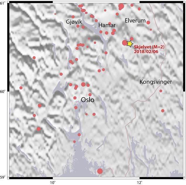 Jordskjelv på Østlandet siden 1998