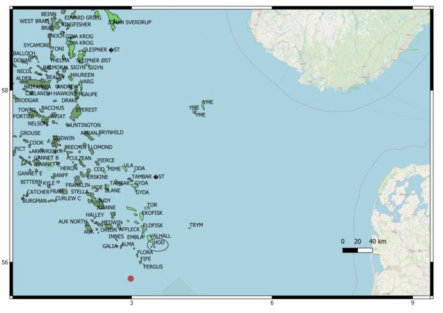 Oversikt over oljefelt i Nordsjøen